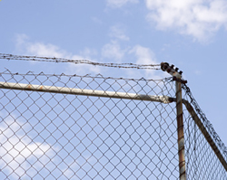 Barbed wire on top of wire security fencing