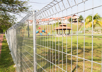 Steel fencing at a public installation