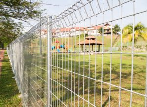 Security fencing around a local park