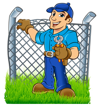 Installer putting in a wire fence